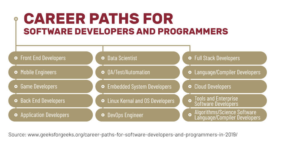 Different career paths and positions for programmers